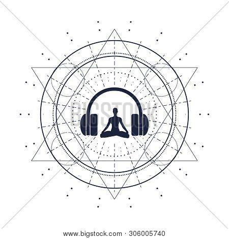 Acronym ASMR - Autonomous Sensory Meridian Response. Health care conceptual image. Woman silhouette in lotus position poster