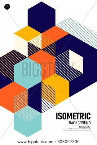 Abstract Isometric Geometric Shape Layout Poster Design Template Background Modern Art Style. Graphi