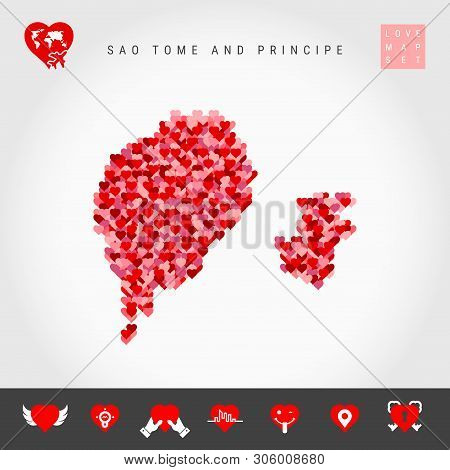 I Love Sao Tome And Principe. Red And Pink Hearts Pattern Vector Map Of Sao Tome And Principe Isolat