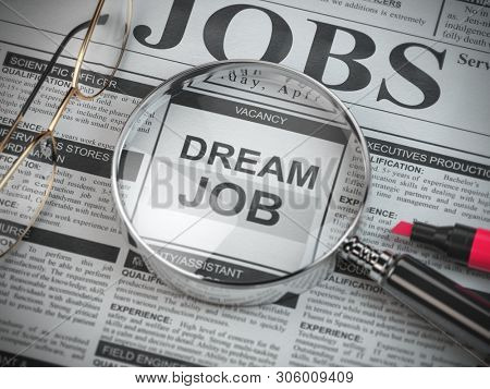 Dream job concept. Job search and employment. Magnified glass with job classified ads in newspaper, 3d illustration