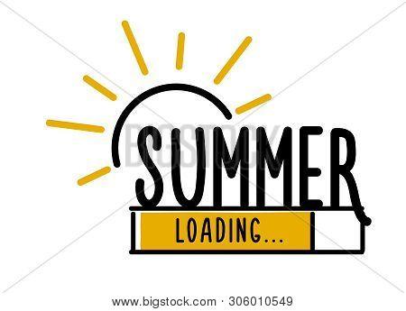 Doodle Summer Loading Illustration Screen. Progress Bar Almost Reaching Summer. Vector Illustration