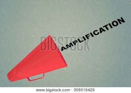 3d Illustration Of Amplification Title Flowing From A Loudspeaker