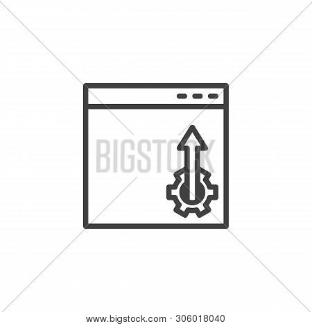 Website optimization line icon. Webpage configuration linear style sign for mobile concept and web design. Browser settings outline vector icon. Symbol, logo illustration. Vector graphics poster