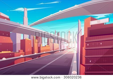 City Road, Empty Streetscape Freeway, Speed Two-lane Highway, Overpass Or Bridge In Modern Megapolis