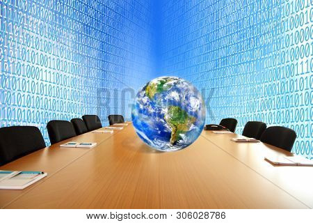 Conceptual close up world map on meeting table over binary code of one and zero