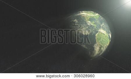 Earth In Space, Planet Earth At Night & Day, Science Fiction Wallpaper.cgi, 3d Render