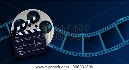 Cinema Film Strip Wave, Film Reel And Clapper Board Isolated On Blue Background. 3d Movie Flyer Or P