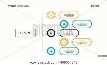 Five Options Flowchart Slide Template. Business Data. Structure, Hierarchy, Design. Creative Concept