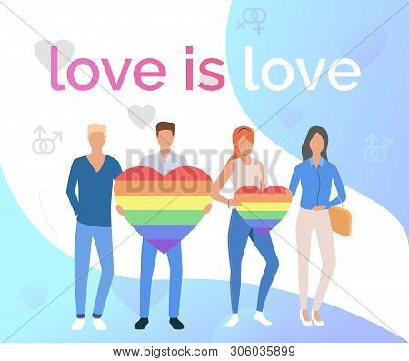 Love Is Love Pride Flyer Design. Gay Couples With Rainbow Hearts. Lgbtq Pride Concept. Vector Illust