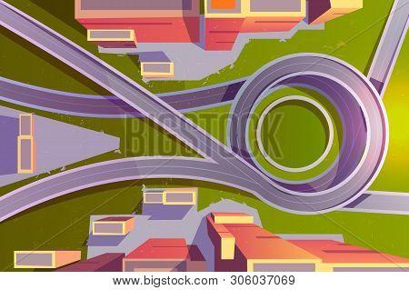 Top View Transport Interchange In City, Empty Highway Road Junction, Urban Architecture, Modern Mega