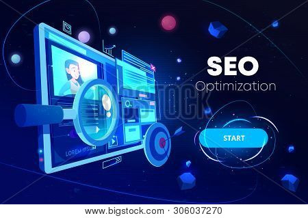 Seo Optimization Banner, Marketing Business Technology, Monitor With Data Analysis Platform On Scree