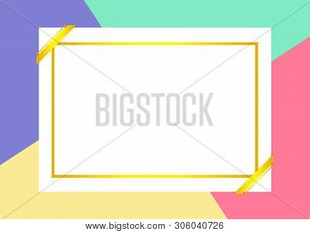 Certificate Template With Golden Frame On Colorful Background, Empty Certificate A4 Frames On Flat L