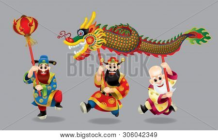 Three cute Chinese gods (represent long life, wealthy and career) are performing dragon dance. With different posts. Caption: wishing you a happy Chinese New Year and everything go fine. poster