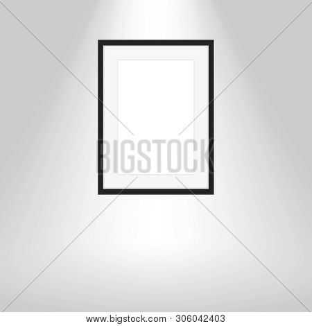 Wood Frames On Gray Wall, Portrait Black Wooden Frame, Mock Up Template Picture Frame, Frames Cute F