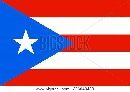 Flag Of Puerto Rico In Caribbean Sea. Patriotic Country Symbol With Official Colors. Flag Of Caribbe