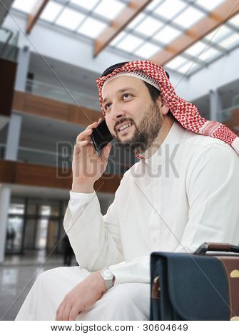 Middle Eastern businessman at airport
