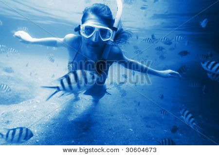 Young woman freediving in a tropical sea  among fish