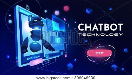Chatbot Technology Service Cartoon Vector Web Banner, Landing Page Template. Artificial Intelligence