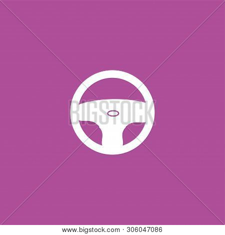 White Car Role, Direction Icon On Purple.  Illustration Isolated Vector Sign Symbol