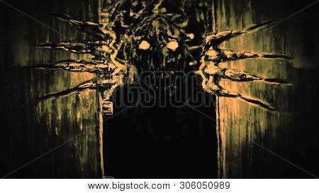 Enraged zombie monster opens bunker doors and growls. Illustration in genre of horror. Scary face character in monochrome color. poster