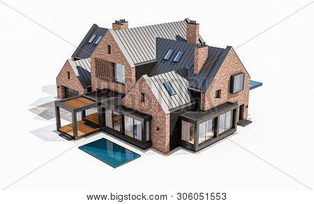 3D Rendering Of Modern Clinker House On The Ponds With Pool Isolated On White