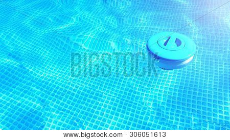 Pool Cleaning Chemicals Background. Floating Chlorine  Tablet Dispenser For Pools Lies In Water.