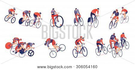 Cycling tour horizontal set of bicyclists with sports equipment in various positions isolated vector illustration poster