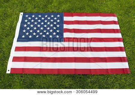 Make America Great Again. American Flag Green Grass Background. National Symbol. American Citizenshi