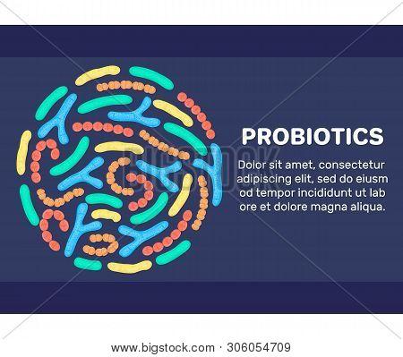 Vector Background With Probiotics In Circular Shape. Bifidobacterium, Lactobacillus, Streptococcus T