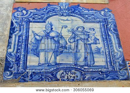 Blue Azulejo Tile In The Old Town Alfama Of Lissabon