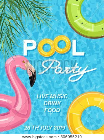 Summer Pool Party Poster With Flamingo Lifering Vector. Summer Banner Blue Water Backgrounds