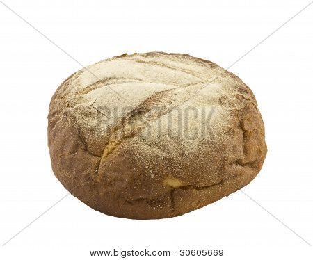 Fresh Rye Bread In The Form Of A Loaf, Is Isolated On A White Background.