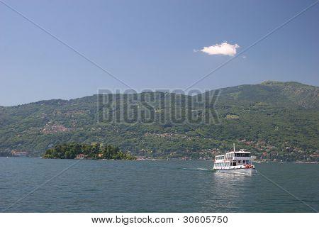 Ship at Lago Maggiore (Italy), view from Verbania to Mt. Mottarone