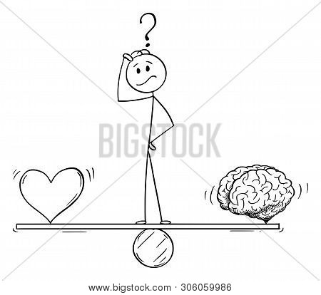 Vector Cartoon Stick Figure Drawing Conceptual Illustration Of Man Or Businessman Thinking And Stand