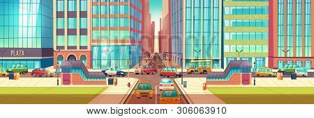 Metropolis Crossroads In Hour Rush Cartoon Vector Concept With Stores Showcases In Skyscrapers Build