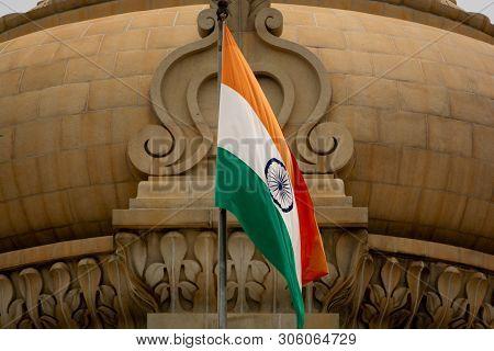 Closeup Of Indian Flag Waving On The Dome Of Vidhana Soudha At Bangaluru, India