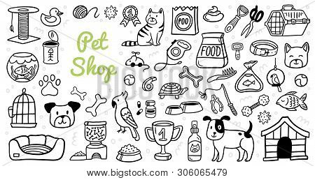 Cute Pets Stuff And Supply Icons Set In Doodle Style. Vet Symbol Collection. Cartoon Dog, Cat, Parro
