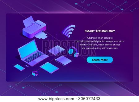 3d Isometric Template For Site Construction. Portal Background With Button, Violet Laptop, Router Wi