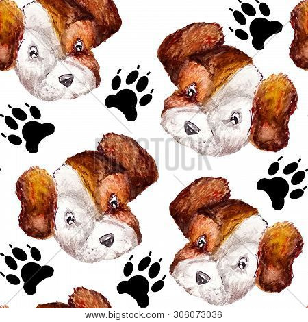 Seamless Doggy Watercolor Pattern Of Puppy Black Paw Prints And Portraits Of White With Brown Puppy