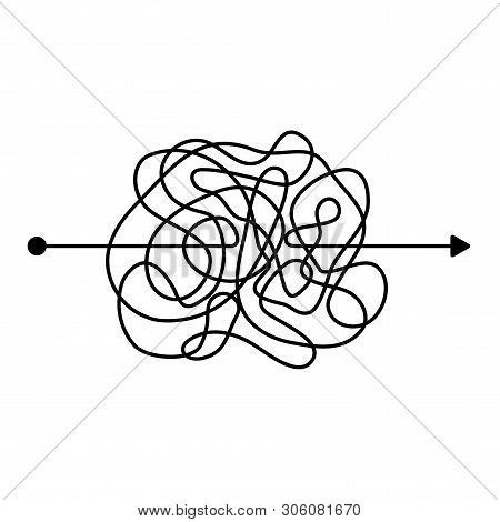 Insane Messy Black Line, Complicated Clew Way. Tangled Scribble Path. Chaotic Difficult Proces. Temp