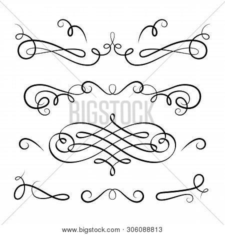 Vintage Calligraphic Vignettes And Flourishes, Decorative Design Elements In Retro Style, Elegant Sc