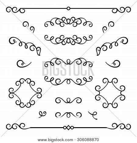Vintage Calligraphic Flourishes, Swirly Decorative Elements In Retro Style, Vector Scroll Embellishm