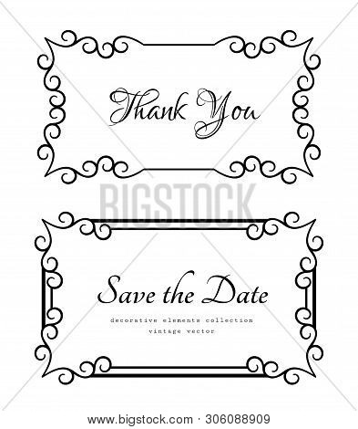 Vintage Rectangle Frames With Ornamental Border Pattern, Elegant Decoration For Wedding Invitation O