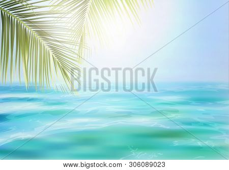 Summer Background, Nature Of Tropical Beach With Beautiful Bright Sea, Blue Sky And Palm Leaf. Defoc