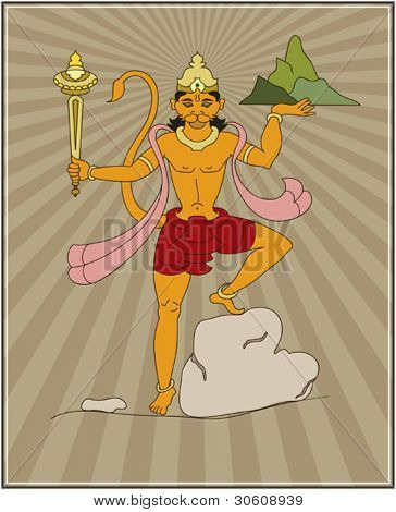 Lord Hanuman Carrying Sanjeevani Mountain