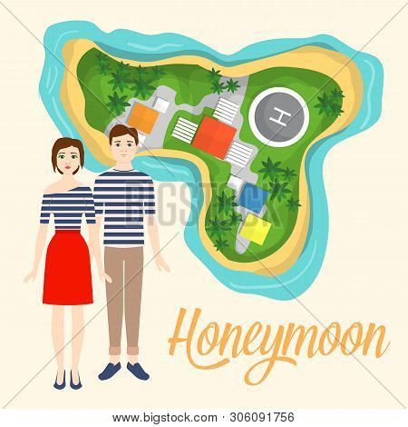 Exotic Summer Vacation Flat Vector Illustration. Young Couple On Honeymoon. Newly Husband And Wife P