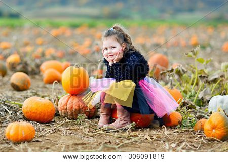 Adorable Little Kid Girl Having Fun On Pumpkin Patch Farm. Traditional Family Festival With Children