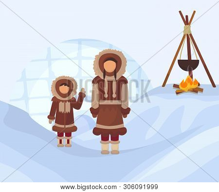 Eskimos In National Clothes. Woman And Child In Traditional North Pole Costumes. Alaska People With
