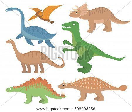 Dinosaurs Flat Icon Set, Cartoon Style. Collection Of Objects With Pterosaur, Stegosaurus, Tricerato