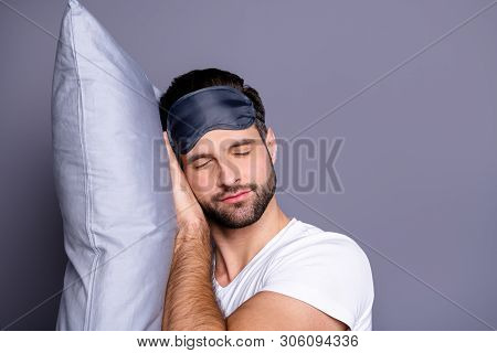 Close-up Portrait Of His He Nice-looking Attractive Bearded Guy Drowsiness Sleeping Quietly Calmly P